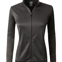 LE3NO PREMIUM Womens Performance Lightweight Track Jacket with Pockets (CLEARANCE)