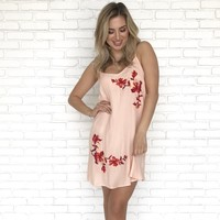 Miami Peach Embroider Flower Shift Dress