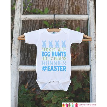 Kids Easter Outfit - Blue #Easter Onepiece or Tshirt - Boys Happy Easter Shirt - Baby Toddler Youth Easter Bunny Easter Egg Hunt Shirt