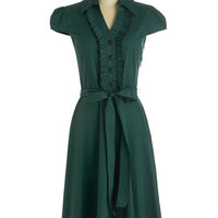 ModCloth 50s Long Cap Sleeves A-line About the Artist Dress in Evergreen