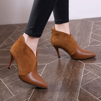 Kickway new Spring Autumn Genuine Leather Ankle Boots thin High heels Fashion Platform Ladies Boot Sexy pointed Toe Shoes women