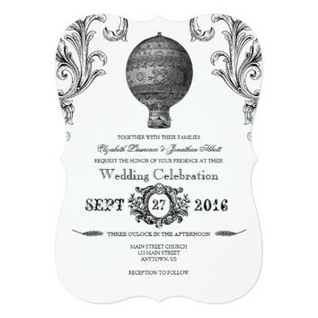 Vintage Victorian Hot Air Balloon Wedding Invites