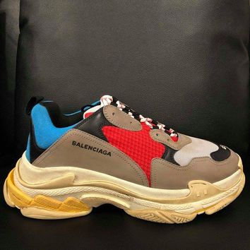 NIB Balenciaga Triple S Sneaker Grey Red Blue Speed Flat Trainers 45 Mens US 12