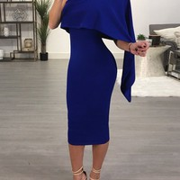 Skew Neck Cape Irregular Bodycon Dress