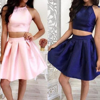 Simple 2 Pieces Short Handmade Pink Royal Blue Homecoming Dresses K386
