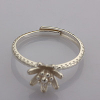 Pretty Golden Flower Bud S925 Silver Ring