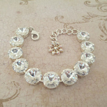 swarovski crystal bracelet, 12mm,, crystal clear, bridal, bridesmaid, classy, high sparkle, rondelle earrings, designer inspired,