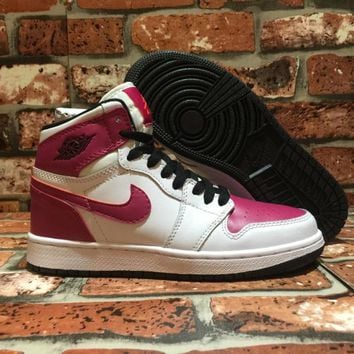 [FreeShipping ]Nike Air Jordan 1 Retro High  White Black Sport Fuchsia Hot Lava Basketball  Sneaker