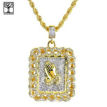"Jewelry Kay style Gold Plated Iced Out PRAY Hand Pendant 26"" Heavy Rope Chain Necklace NA 0120 G"