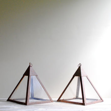 Vintage Pyramid Cloche Terrariums - Set of Two