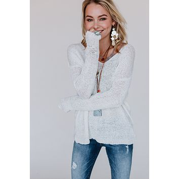 Cool Breeze Open Back Sweater - Ivory