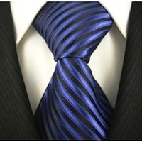 Scott Allan Mens Striped Necktie - Steel Blue