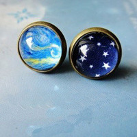 Sky Stars Oil Paiting Earrings For Two