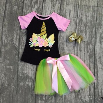 new arrival baby girls summer clothing children unicorn top with skirts outfits sets baby girls summer unicorn clothes with bows