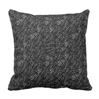 Linear Abstract Black and White Throw Pillow