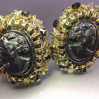 Black Cameo Earrings Victorian Revival Rhinestones Antique Gold Tone, Vintage