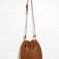 Whistle-Stop Tour Tan Suede Fringe Bucket Bag