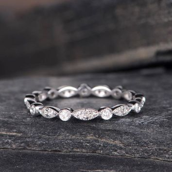 Wedding Band Woman Diamond Eternity Band Stacking Ring Antique Jewelry
