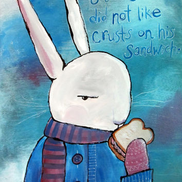 Original Nursery Art Whimsical Rabbit Painting Folk Art Storybook Art Cute Woodland Animal Blue Artwork Wall Decor for Babies