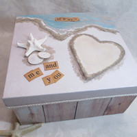Wedding Keepsake Box- Beach-Ocean Memory Box - Wedding Card Box- Personalized Heart