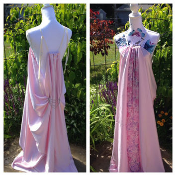 "Sale! GoT inspired ""King's Landing handmaiden dress"". Custom size Pink Satin, floor length, Shae/Ros. LARP/cosplay. Fantasy/Goddess Gown."