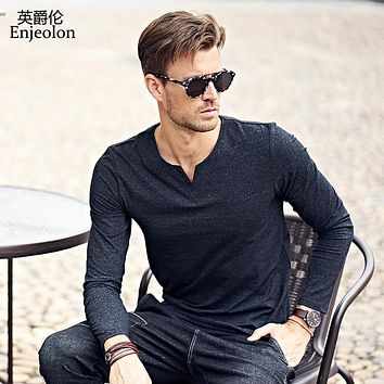 new casual t shirts man long sleeve v neck cotton solid base Clothing Tops Tee
