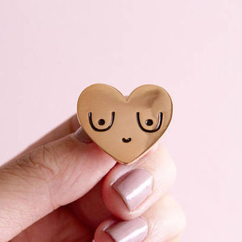 Feminist Enamel Pin Rose Gold Boobs-  Feminist Gift Breasts Bachelorette Gift Women' Rights Reproductive Rights Girl Power Art