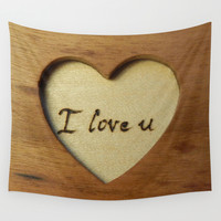 Wooden love gift Wall Tapestry by Andulino