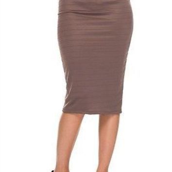 Career Stitching Detail High Waist Stretch Bodycon Midi Pencil Straight Skirt