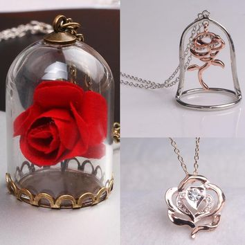 New fashion Beauty and the Beast long charm Necklace Enchanted Rose flower glass in Terrarium Pendant for Men and Women Fans