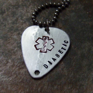 Medical Alert Jewelry - Handstamped Guitar Pick Necklace - Diabetic Allergies Pacemaker Alzheimers Autism Peanut Allergy Coumadin
