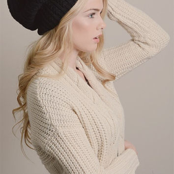 Pointelle Slouchy Knit Beanie-Black