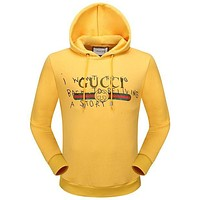 Gucci Autumn Winter Fashion Women Men Casual Print Hoodie Sweater Pullover Top Sweatshirt Yellow