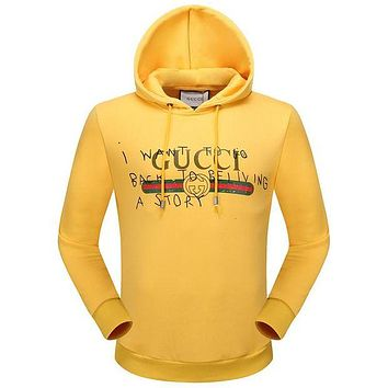 Gucci Fashion Women Men Casual Print Hoodie Pullover Top Sweater Yellow