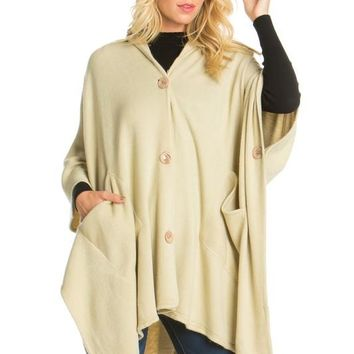 BUTTON UP SOLID HOODY PANCHO