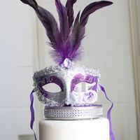 Masquerade Purple and Silver Quinceañera cake topper