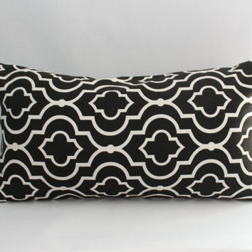 Neutral Pillow Cover: Black and White Moroccan Pillow Cover, Bed Pillows, Modern Bedding, Graphic Print--12 x 22 inch lumbar--READY TO SHIP