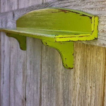 "Vintage Small Plate Shelf, Green Country Distressed, 16"" x 3"", Home Decor, Wall Hanging, Kitchen Shelf, Display Plates"
