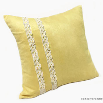 Sweet Romantic Lace Yellow Pillow Cover. Rustic Decorative 16inch Cushion Cover. Pick Your Color