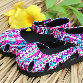 Purple Boho Little Girls Shoes in Hmong Embroidery Mary Jane Style Hmong Shoes