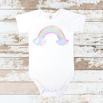 Rainbow on White Bodysuit | Rainbow on White Bodysuit for Toddlers | Colorful Rainbow Outfit
