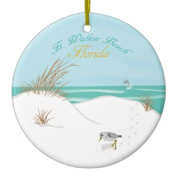 Ft. Walton Beach (Florida) Double-Sided Ceramic Round Christmas Ornament