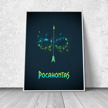 Pocahontas, alternative minimalist movie poster, fan art, giclee art print, animated movie poster, Disney inspired