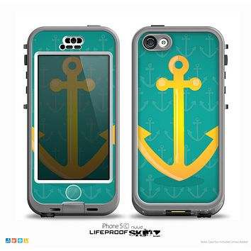 The Gold Stretched Anchor with Green Background Skin for the iPhone 5c nüüd LifeProof Case