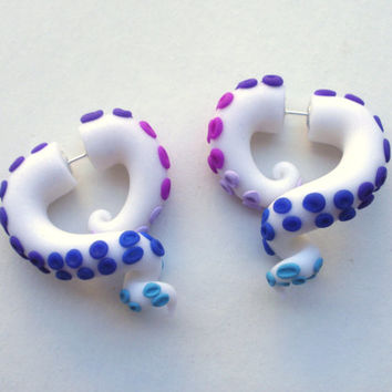 Rarity Tentacle Earring- Glitter- Purple -Blue- Lavender- My Little Pony