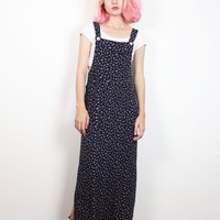 Vintage 1990s Dress Navy Blue Liberty Floral Print Overalls Dress 90s Dress Soft Grunge Pinafore Jumper Overall Maxi Dress M Medium L Large