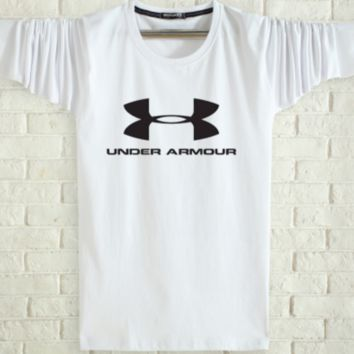 Under Armour Spring and autumn new fashion men and women letter print long sleeve tops White