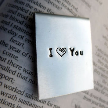 Hand Stamped Aluminum Bookmark I heart you by SnappinStudio