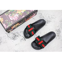 Gucci Slippers Satin slide with Web bow Black Red