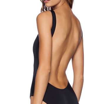 Norma Kamali KAMALIKULTURE Super Low Back One Piece in Black